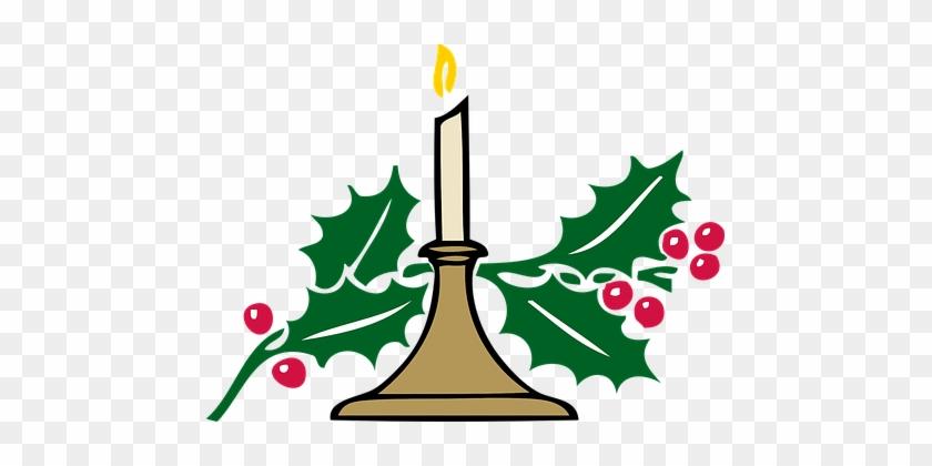 Christmas Candle, Candlelight, Holly - Church Christmas Clip Art #15092