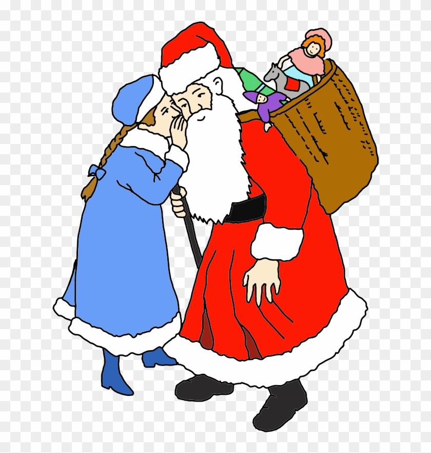 Girl Whispering Her Wishes To Santa Clip Art - Santa Claus #15106