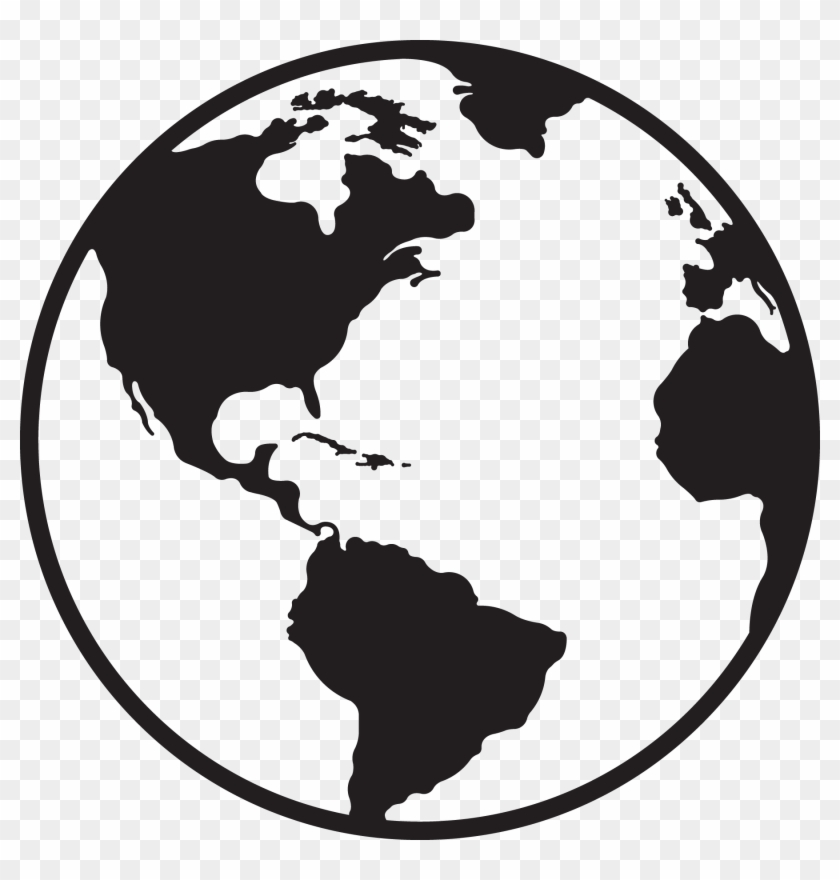 Black And White Globe Clipart - Black And White Globe Clipart #15111