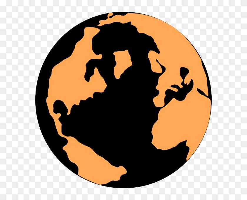 Orange And Black Globe Clip Art - Orange And Black Globe #15309