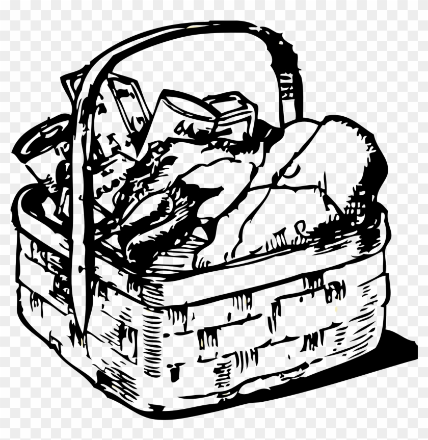 Picnic Basket Clipart Black And White Clipartfox - Food Basket Black And White #15525