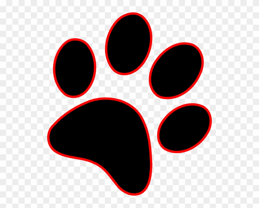 Paw Print Clip Art - Red And Black Paw Print #15748