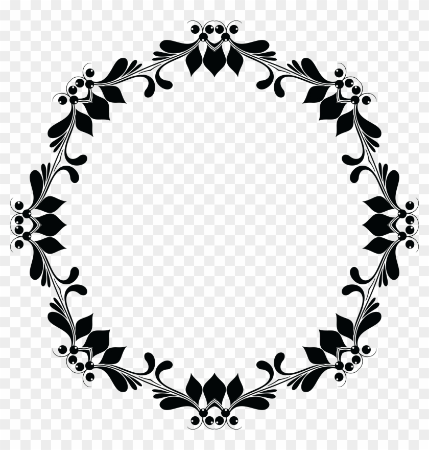 Free Clipart Of A Floral Frame - Circle Flower Frame Black And White Png #15872