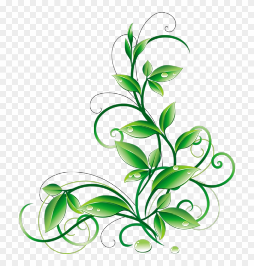 Floral Green Leaves And Water Droplets Png Clipart - Green Corner Border Png #15879