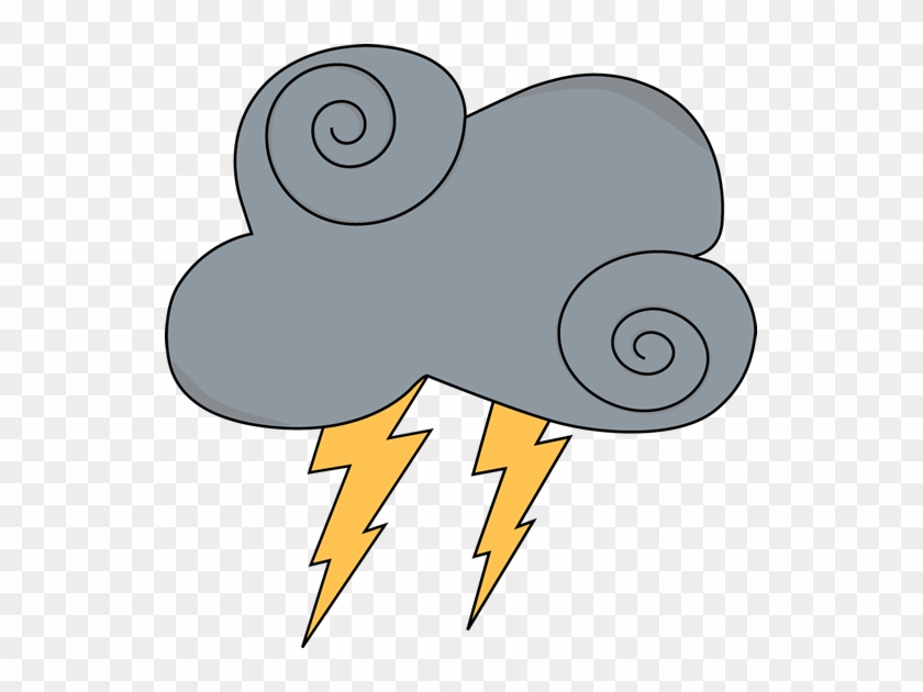 Swirly Gray Cloud With Lightning - Rain Clipart #15900