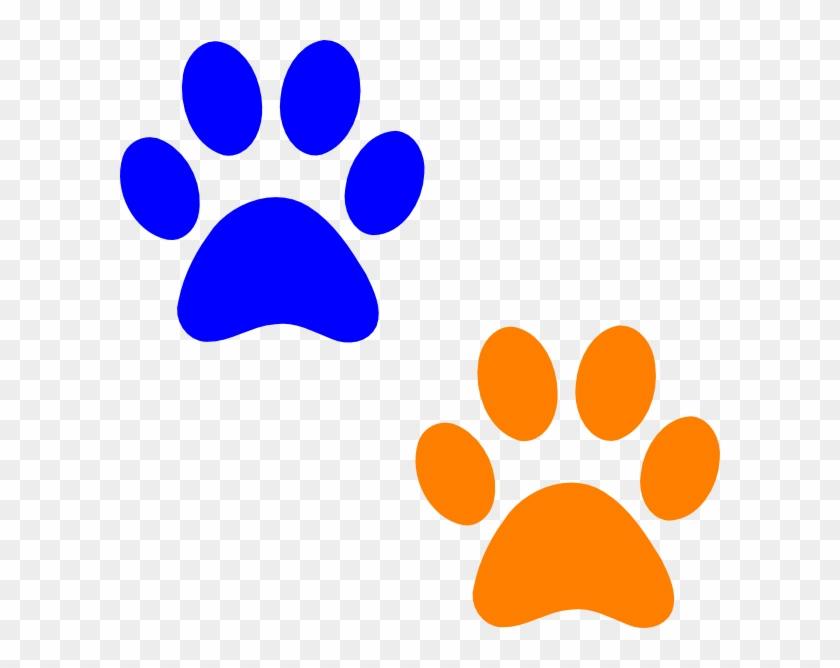 Wolf Paw Print Clip Art Clipart - Orange And Blue Paw Print #15924