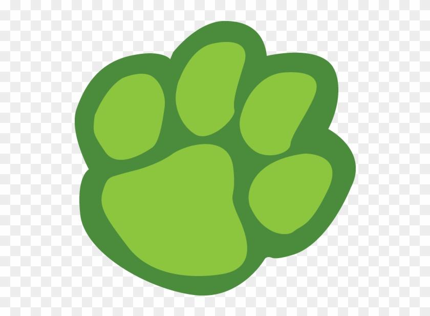 Tiger Paw Print Border Clipart - Green Paw Print Clip Art #16028