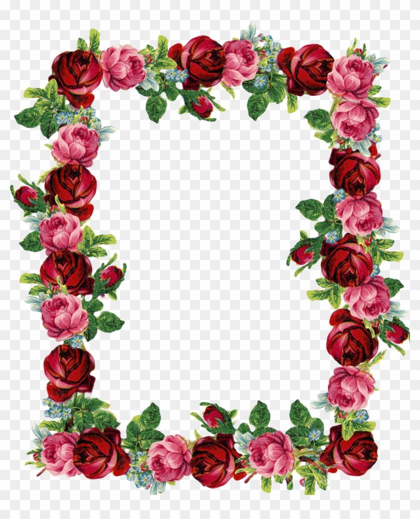 Free Digital Vintage Rose Frame And Border - Transparent Background Rose Border #16088