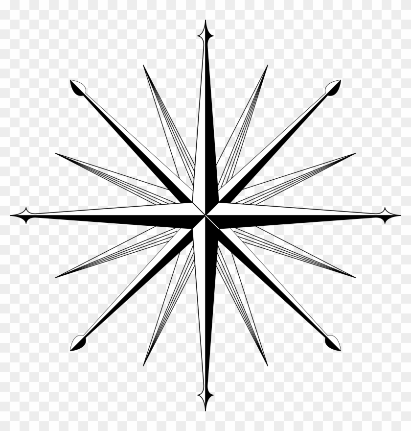 Compass Outline Wind Rose Compass Rose Clip Art Compass - Blank 16 Point Compass Rose #16128