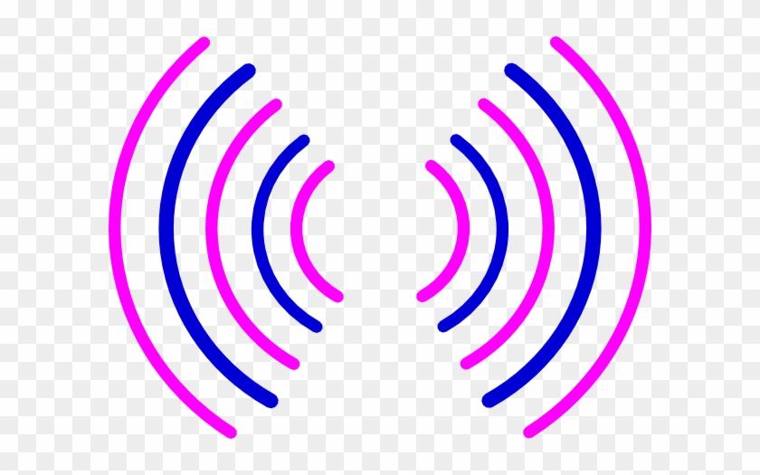 Radio Waves Pink And Blue Svg Clip Arts 600 X 445 Px - Radio Waves Circle Pink #16225