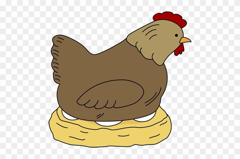 Hen Sitting On Eggs - Hen Clipart #16303