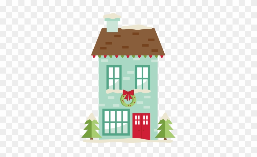 Christmas House Svg Scrapbook Cut File Cute Clipart - Christmas Day #16327