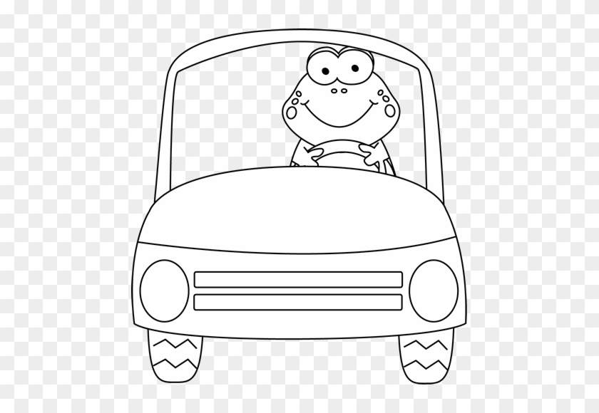 Black And White Frog Driving A Car Clip Art - Frog In Car Clip Art #16513