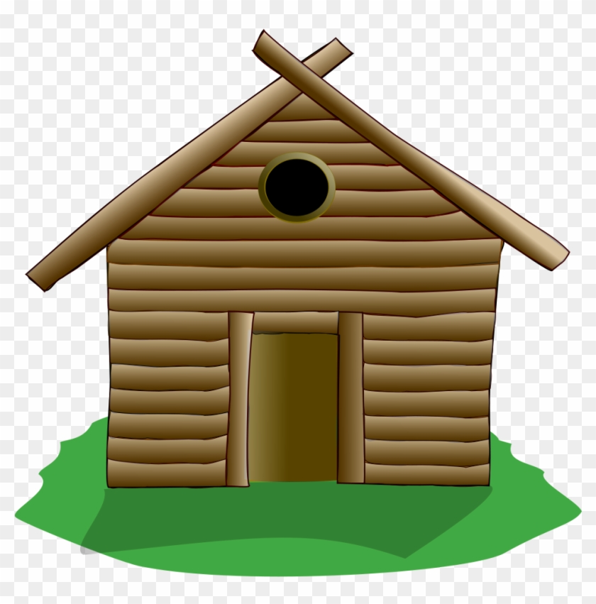 Showing Post & Media For Cartoon Stick House Clip Art - Log Cabin Shower Curtain #16551