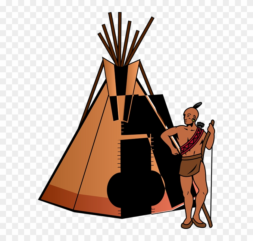 Tent Teepee Home Thanksgiving People Indian Tribe - Native American Teepee Clipart #16705
