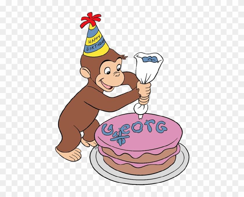 Curious George Decorating A Cake - Curious George Birthday Cake #16783