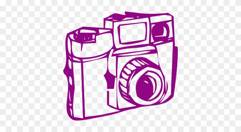 Camera Clipart Purple - Vintage Camera Graphic Clipart Png #16973