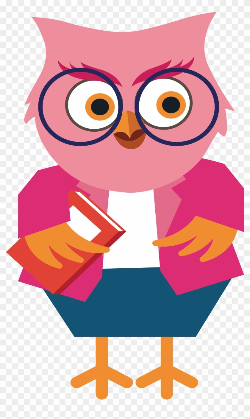 Owl Cartoon Teacher Clip Art - Cute Owl Teacher Cartoon ...