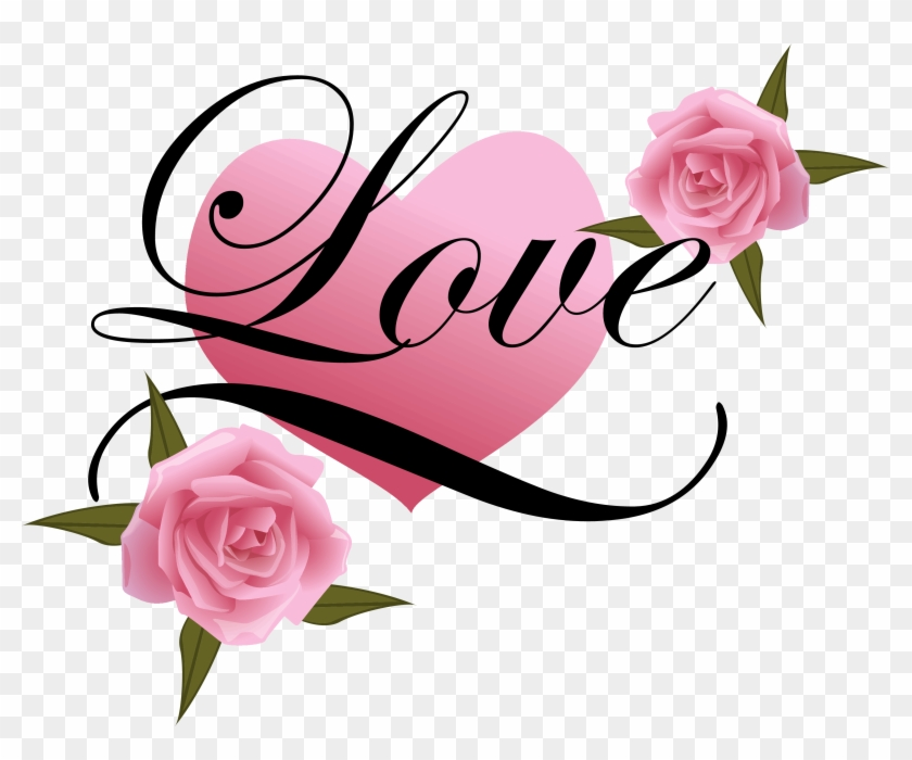 Wedding Couple Clipart Png - Love Heart With Rose #17341