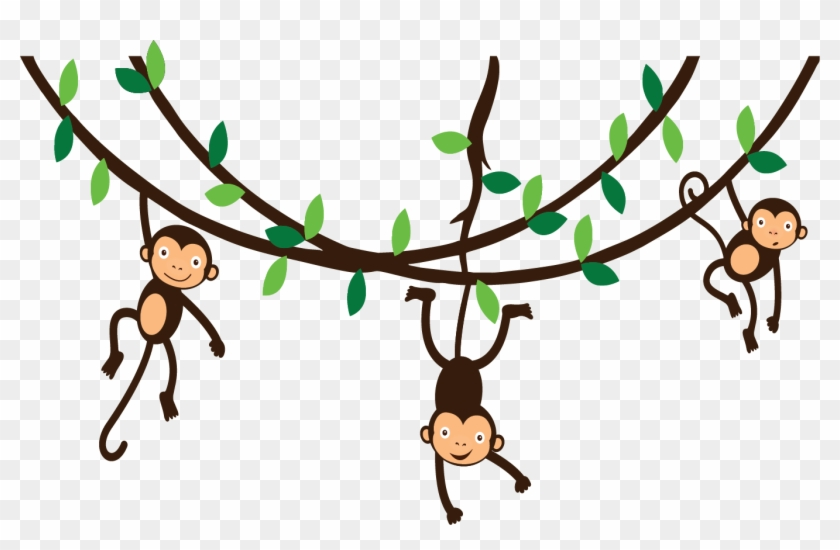 Free Icons Png - Monkeys Hanging From Vines #17536