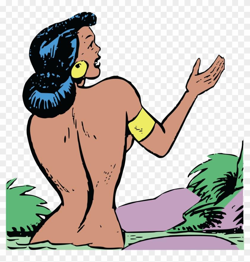 Free Clipart Of A Retro Woman Bathing In A River - Comics Bath #17591