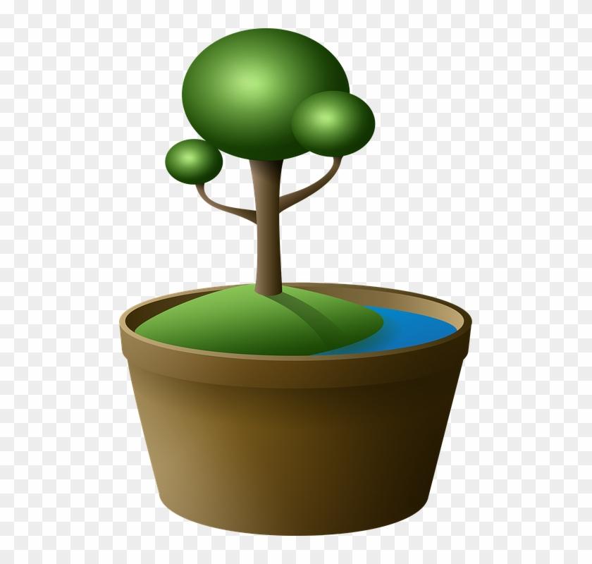 Tree Bonsai Vase Island Green Lake Cartoon - Cartoon Bonsai Tree #17636