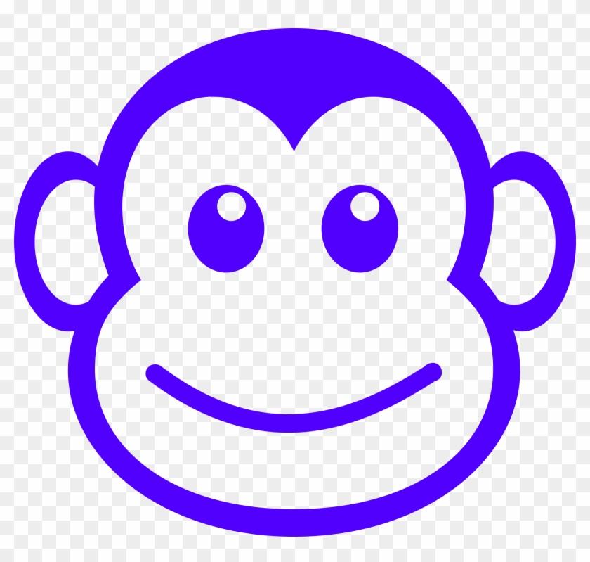 Funny Monkey Face Simple Path Clipart - Monkey Cross Stitch Patterns #17676