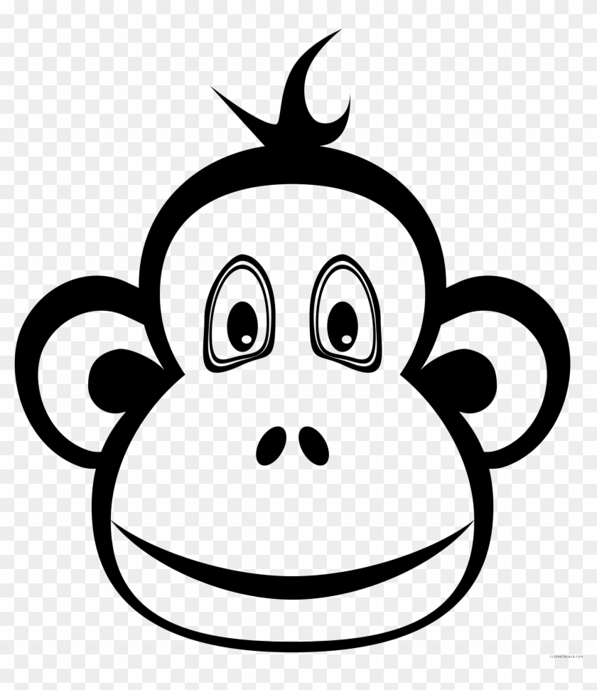 Cute Monkey Clipart Silhouette Collection - Monkey Head Clipart Black And White #17683