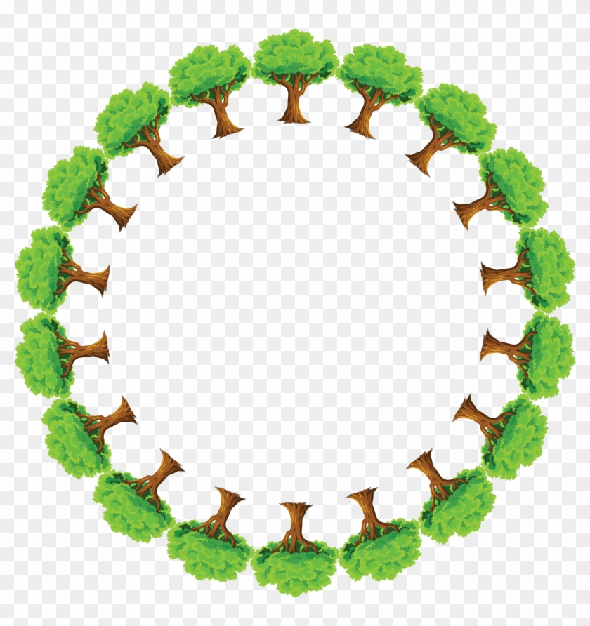 Free Clipart Of A Round Frame Of Trees - Save Environment In Hindi #17736