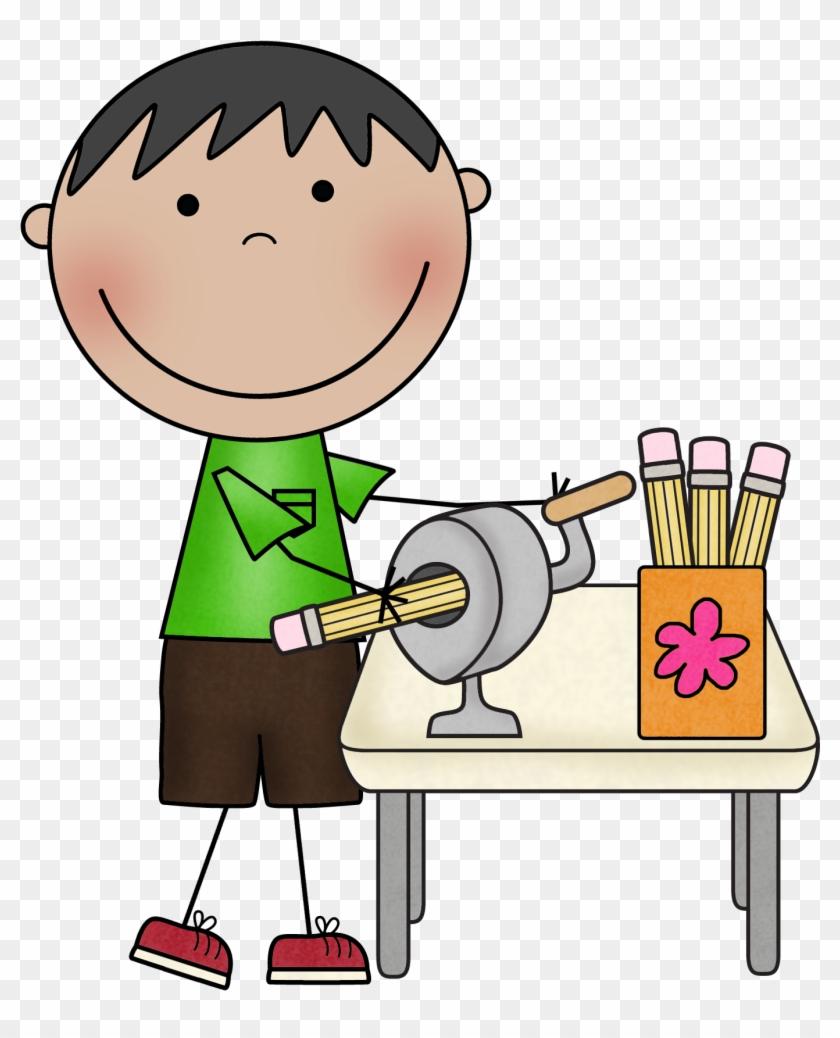 Teacher Helper Clipart - Student Sharpening Pencil Clipart #17770