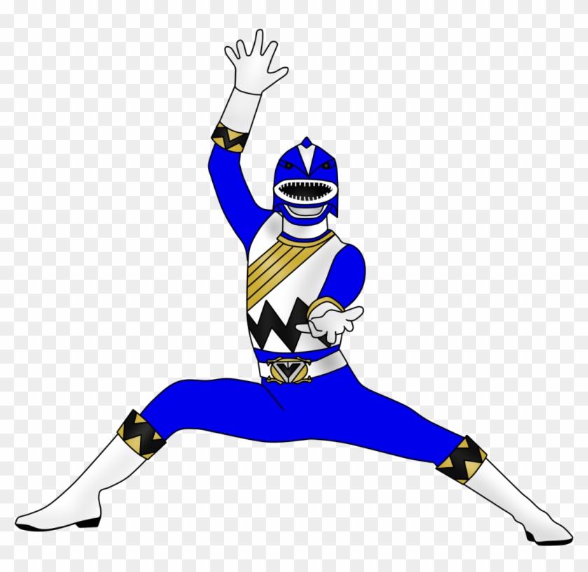 Blue Shark Ranger By Iyuuga-d9h87ue - Blue Power Ranger Cartoon #17994
