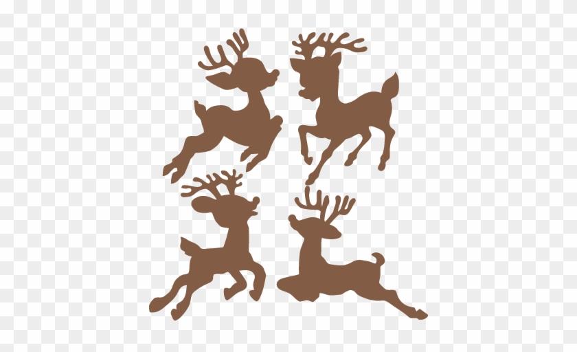 Christmas Reindeer Set Svg Scrapbook Cut File Cute - Reindeer Clipart Silhouette #17990