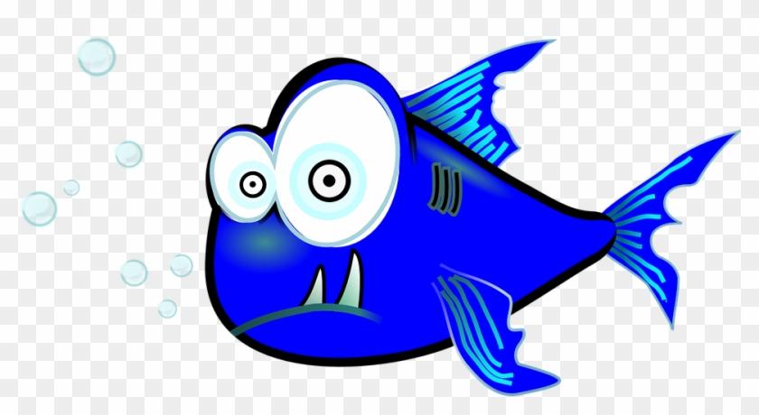 Piranha, Fish, Funny, Weird, Blue - Piranha Clip Art #18004