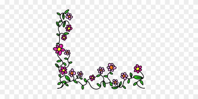 Flowers Doodle Whimsical Cartoon Border Fr - Flowers Frame Cartoon Png #18012