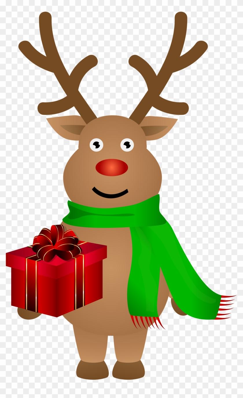 Cute Christmas Reindeer Png Clip Art Image - Reindeer Crystal Ear Studs. Silver. Personalised Message. #18038