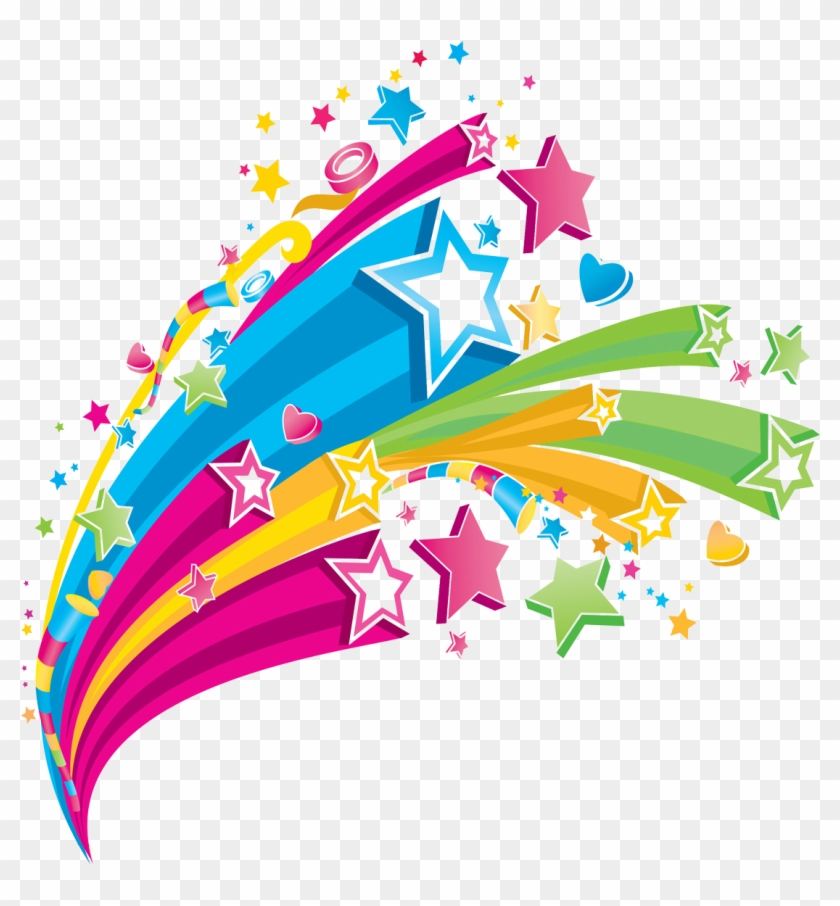 Colorful Clipart Colorful Star - Colorful Shooting Stars Clip Art #77026