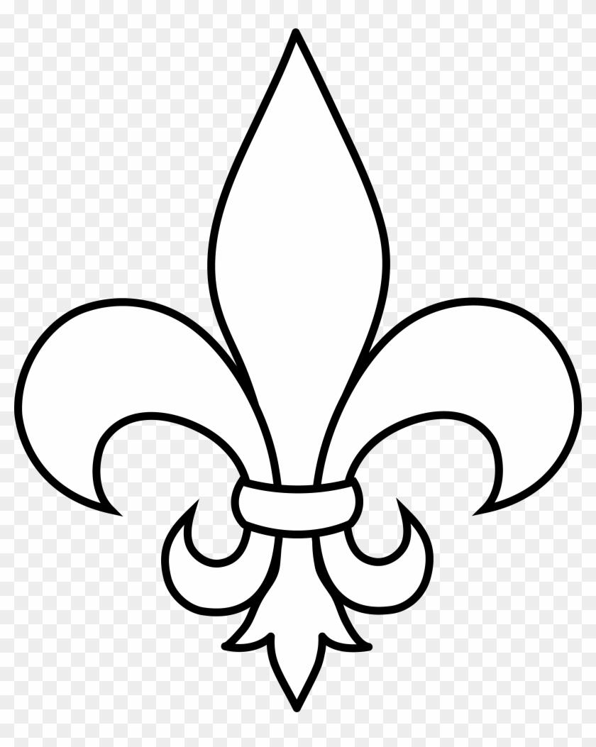 Black And White Fleur De Lis Outline - Fleur De Lis Clip Art #77949