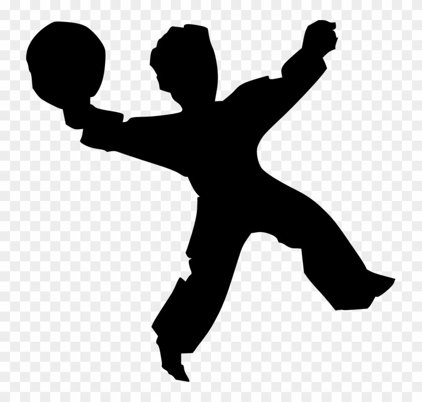 Handball Playing Sports People Man Silhouette - Kid Jumping Silhouette #78278