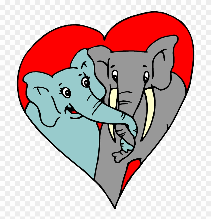 Valentine's Day Free Clip Art - Elephants In Love Cartoon #78579