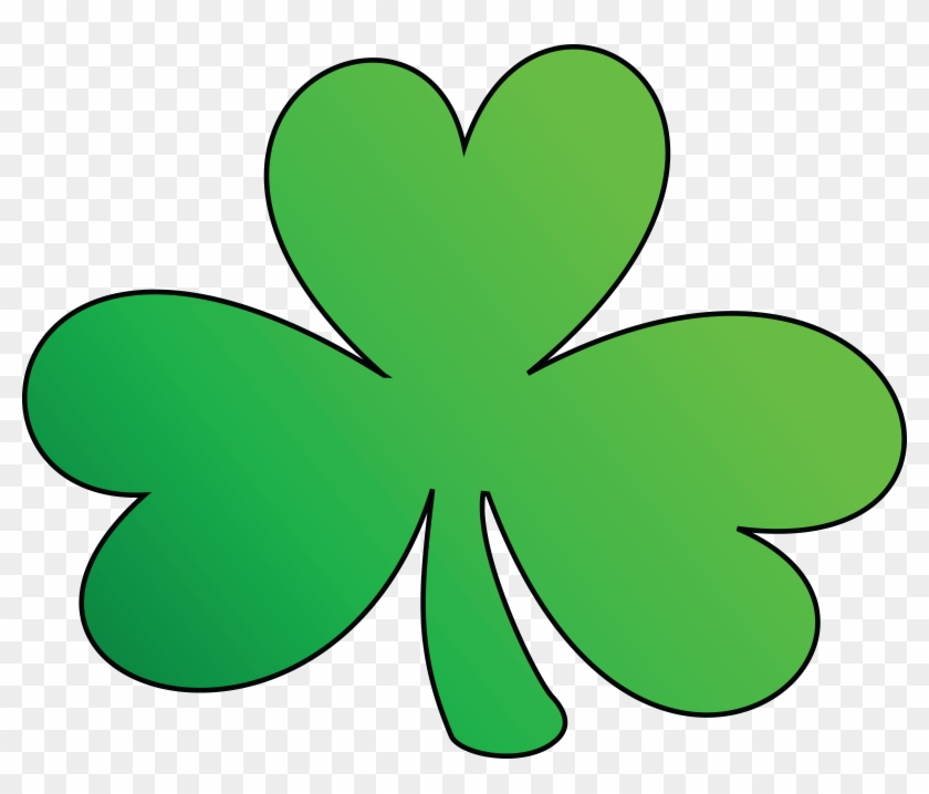 Free Clipart Of A Green Outlined Clover Shamrock, St - St Patrick's Day Green Clover #78664