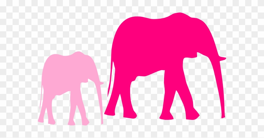 Pink Baby Shower Elephant Mom And Baby Clip Art - Elephant Clip Art #78893