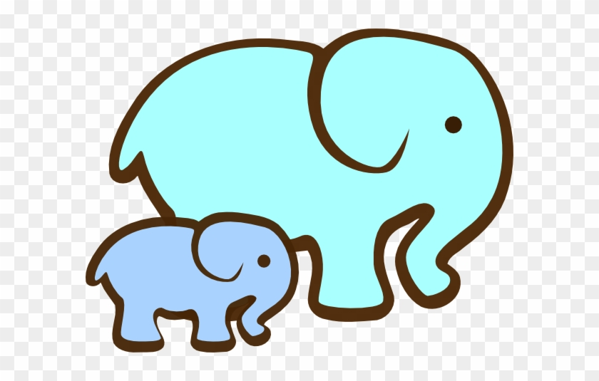Mom And Baby Elephant Clip Art - Elephant With Baby Clipart #78971