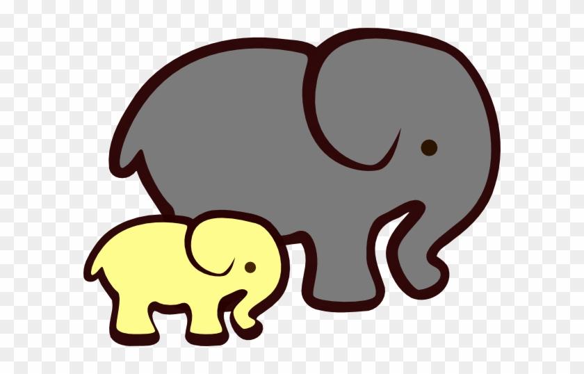 Yellow Elephant Mom Amp Baby Clip Art - Yellow And Grey Elephants #79150