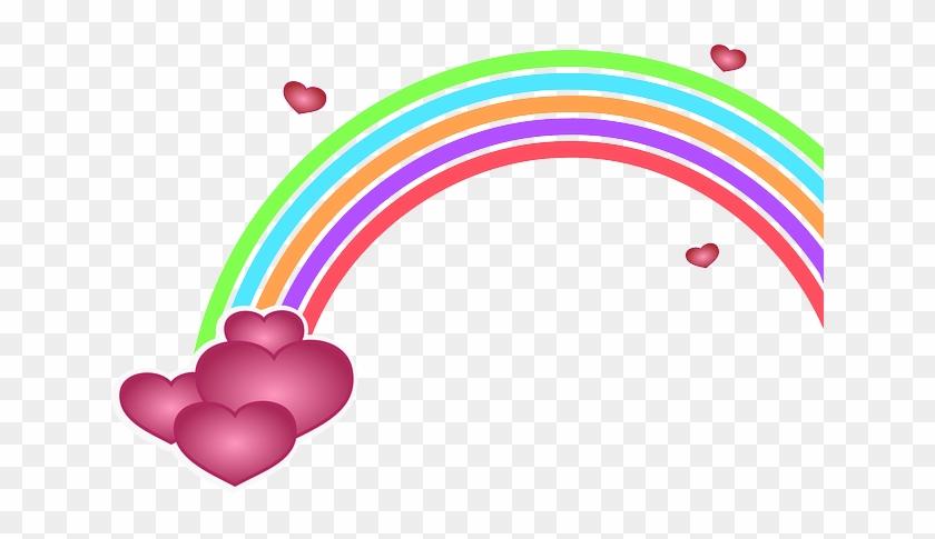 Free Rainbow With Heart Clip Art - Valentine's Day Clip Art #79258