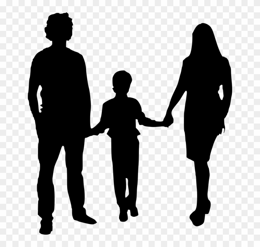 Silhouette, Mother, Father, Isolated - Black And White Mother And Father Clipart #79348