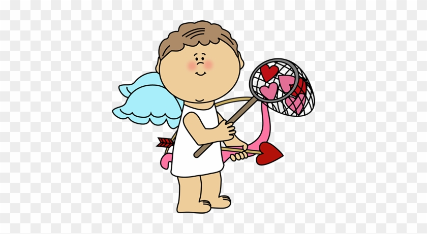 Cupid Catching Valentine Hearts Clip Art - Cupid Boy Clip Art #79794
