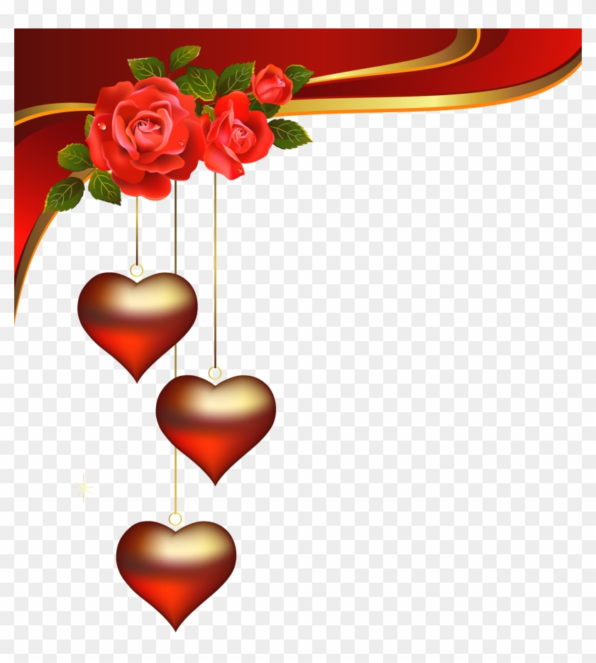 Decorative Hearts Pendants With Roses Element Png Clipart - Whatsapp Status Video Download #79852