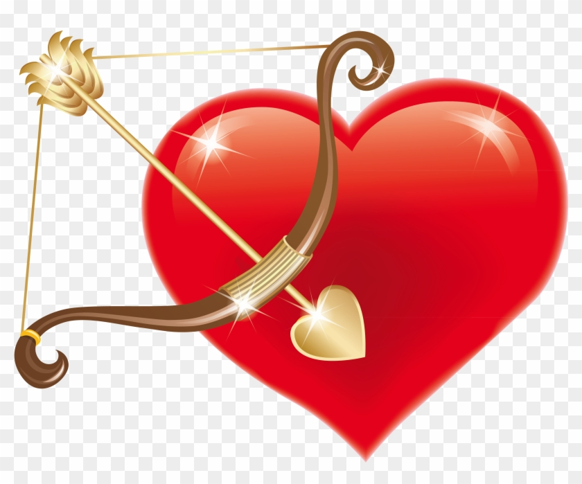 Red Heart With Cupid Bow Png Clipart Picture - Heart With A Bow And Arrow #79902