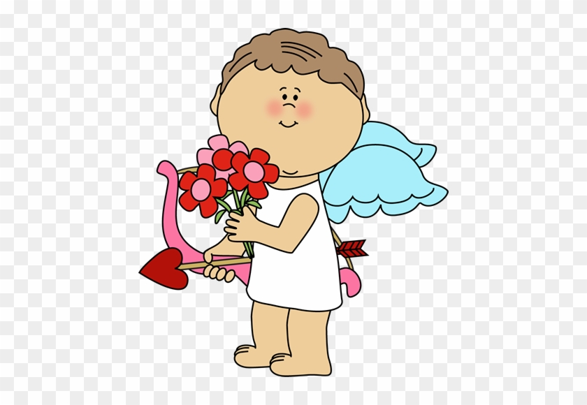 Valentine's Day Cupid With Flowers - Valentine's Day Cute Cupid #80425