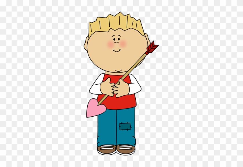 Boy Holding A Valentine's Day Arrow - Valentines Day Kid Clipart #80444